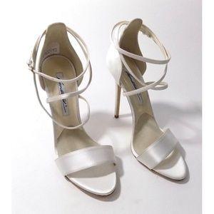Brian Atwood White Silk Satin Tamara Sandals Heels